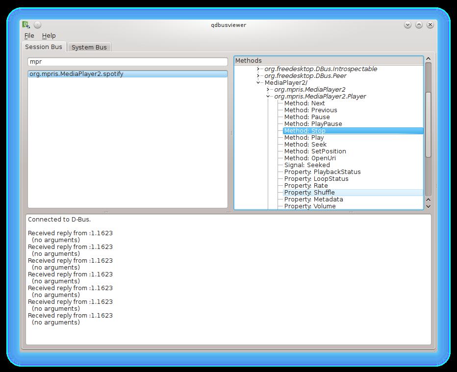 Navegador DBUS visualizando la aplicacion SPOTIFY