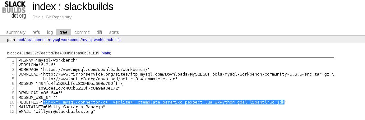MySQL WorkBench slackbuilds info