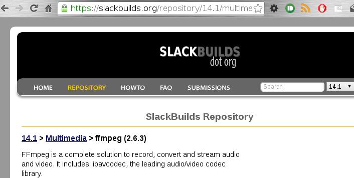 resultado de busqueda de ffmpeg en slackbuilds