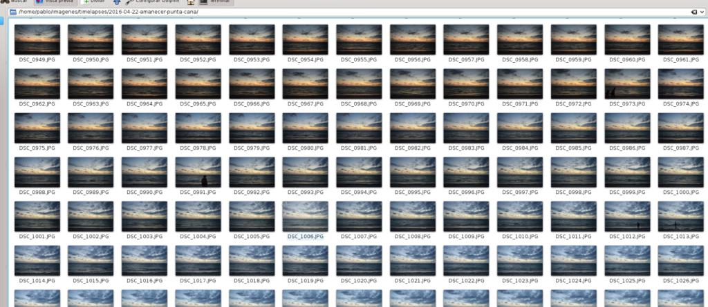 Carpeta de timelapses con las distintas fotos